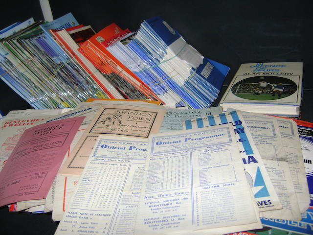 A large collection of football programes mainly London clubs 1940's to 1980's