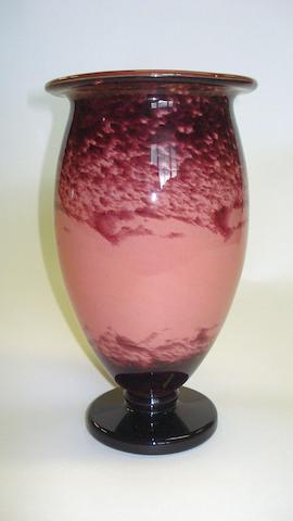 An Andre Delatte glass pedestal vase  Circa 1925