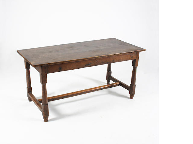 A 17th Century and later oak 'refectory'-type low table