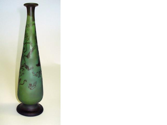 A Gallé green glass cameo vase Circa 1900