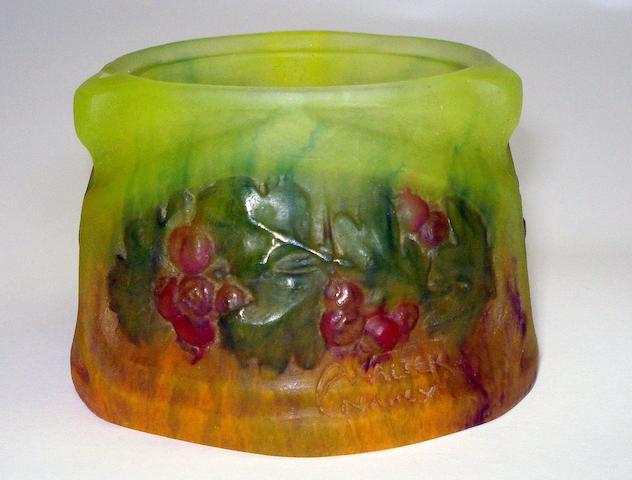 An Amalric walter pate de verre deep glass circular dish Circa 1910-1920