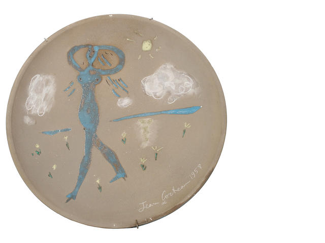 Jean Cocteau (French, 1892-1963) La Belle Bleue, conceived in 1958 31cm (12 1/4in)(diameter)