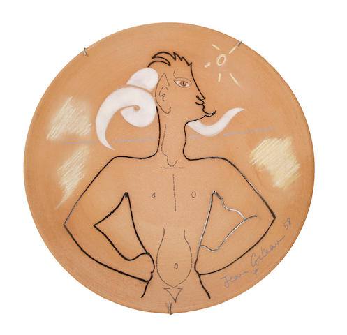 Jean Cocteau (French, 1892-1963) Figure with horns 25cm (10in)(diameter)