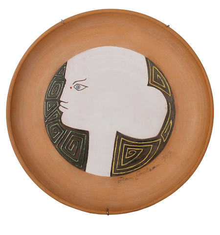 Jean Cocteau (French, 1892-1963) Head in profile 30.5cm (12in)(diameter)