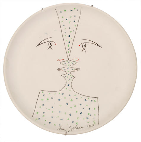 Jean Cocteau (French, 1892-1963) Double-Profil sur blanc 31cm (12 1/4in)(diameter)