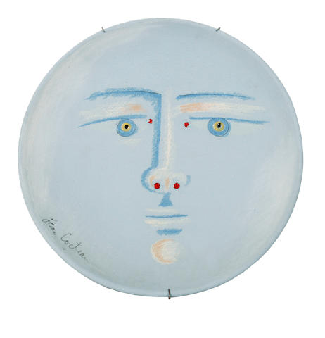 Jean Cocteau (French, 1892-1963) Clair de Lune, conceived in 1958 32cm (12 1/2in)(diameter)