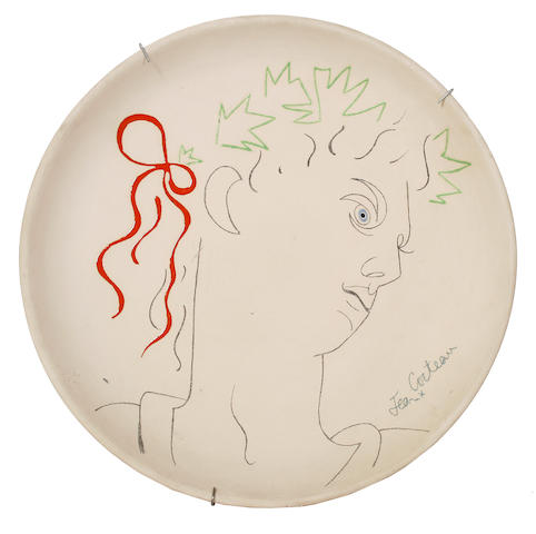 Jean Cocteau (French, 1892-1963) Head study 32cm (12 1/2in)(diameter)