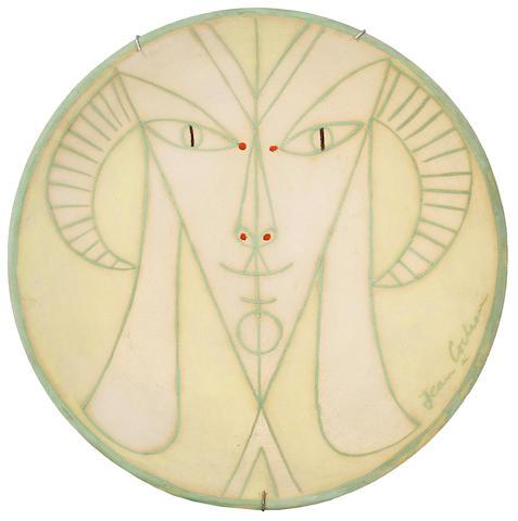 Jean Cocteau (French, 1892-1963) Tête de chêure-pied sur jaune 27cm (10 3/4in)(diameter)