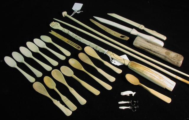A collection of whalebone implements, 11