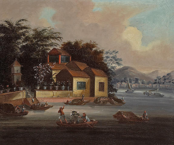 Anglo-Chinese School A view of a house and garden with boats in the foreground  18 x 23 1/2in (45.7 x 59.8cm)