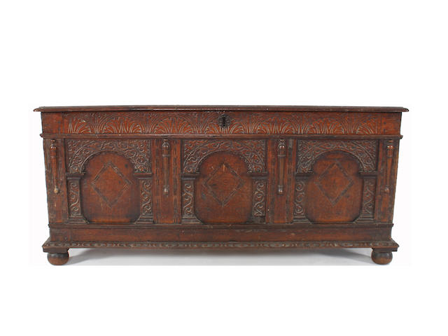 An Elizabeth I and later oak coffer