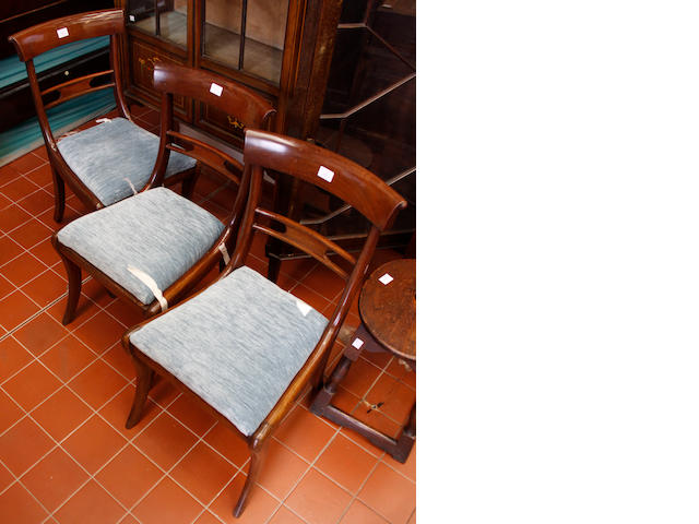 Three Regency mahogany dining chairs