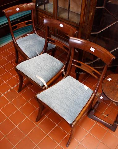 Three Regency mahogany dining chairs