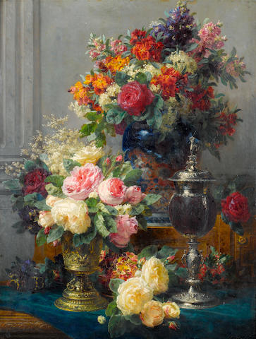 Jean-Baptiste Robie (Belgian, 1821-1910) Spring flowers with chalices