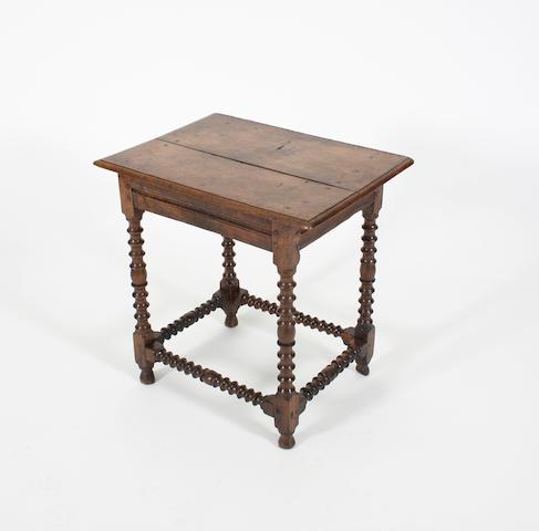 A Charles II small oak side table