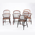 A near set of four mid-Victorian ash and elm stick-back Windsor chairs