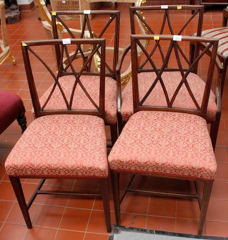 A set of six George III mahogany dining chairs,