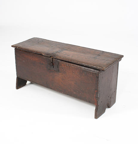 A mid-17th Century oak six-plank coffer
