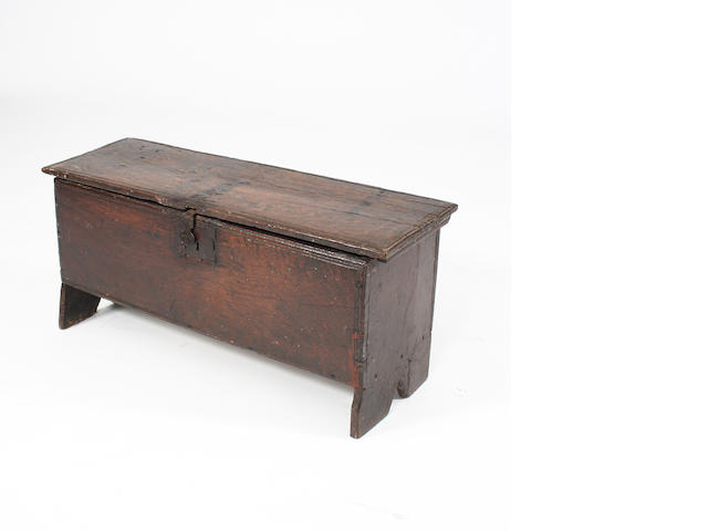 A mid-17th Century oak six-plank coffer