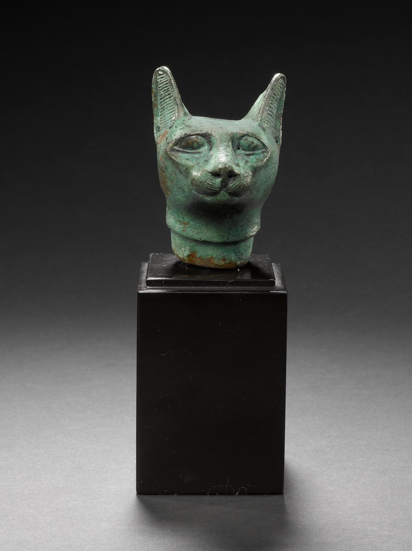 An Egyptian bronze cat head