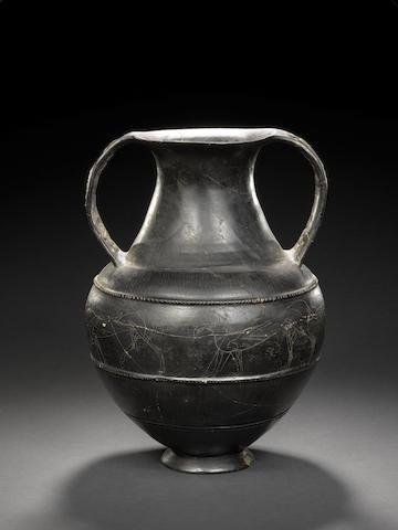 An Etruscan Bucchero ware amphora
