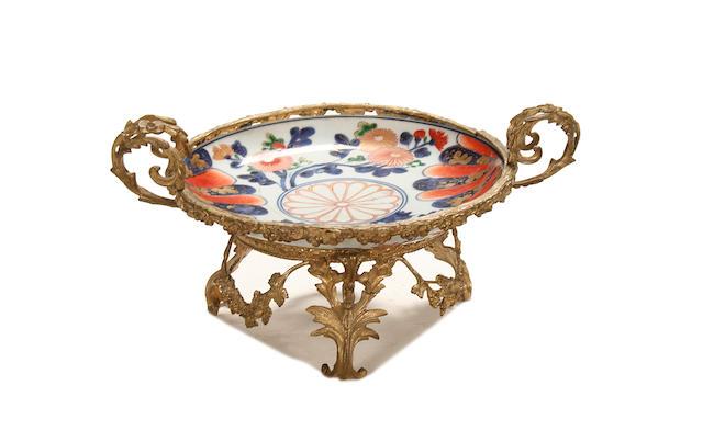 A Louis XV style gilt metal and Imari porcelain tazza