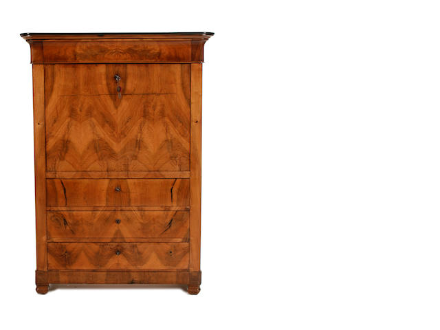 A Swiss second quarter 19th century fruitwood and burr birch secrétaire à abattant