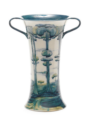 William Moorcroft for Townsend & Co. 'Landscape' a large early twin-handled Florian Vase, circa 1903