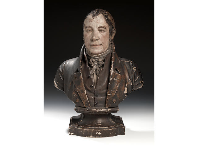An important painted biscuit pottery bust of Enoch Wood, dated 1821