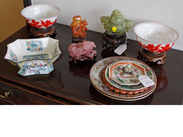A pair of modern Pekin glass overlay two colour bowls,18cm diameter, with stands, a pair of 18th/19th Century famille rose and silvered plates, a famille rose enamelled dish, three various hardstone pieces on stands four other items. (16)
