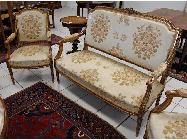 A set of four French gilded fauteils,