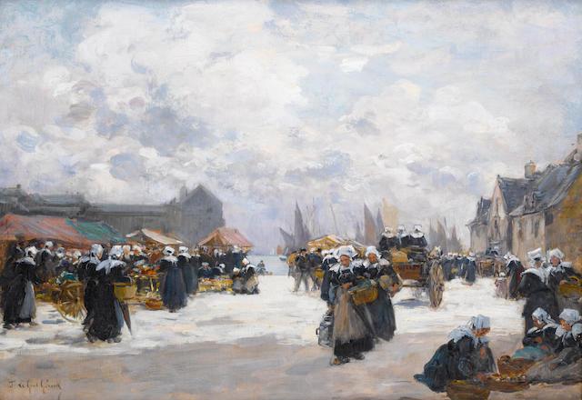 Fernand Marie Eugène Legout-Gérard (French, 1856-1924) Le marche et le quai, Concarneau