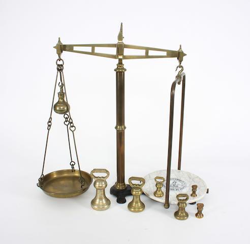 A Victorian brass, iron and ceramic beam scaleParnall & Sons Ltd., Narrow Wine St., Bristol