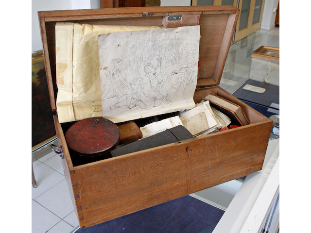 Matthew Shepperson (British, 1785-1874) A box containing letters and papers relating to the artist, including a Royal Academy Medallion & Ivory R.A. Disc, account book relating to various clients including royalty and nobility, sketches, two cased sets of drawing instruments, brushes etc, and family papers etc.
