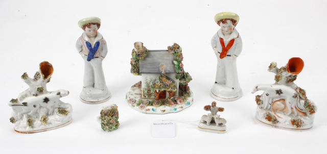 An early Victorian English porcelain cottage pastille burner,