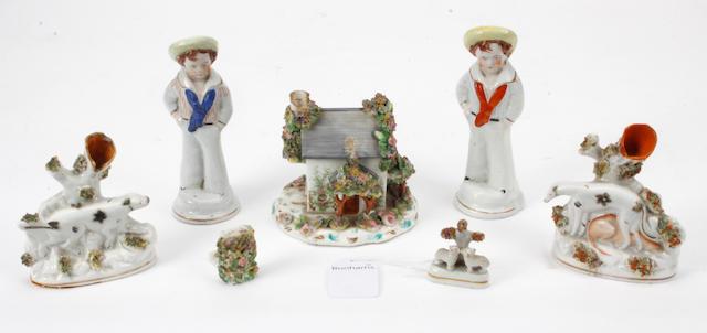An early Victorian English porcelain cottage pastille burner,