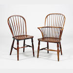 An extremely near set of ten mid-19th Century ash and elm Windsor chairs Lincolnshire