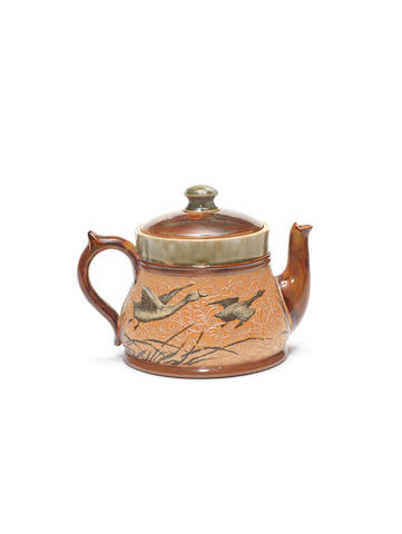 Florence Barlow for Doulton Lambeth a Teapot and Lid with Geese, circa 1900