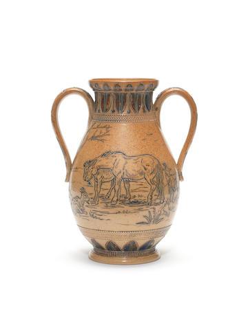 Florence Barlow for Doulton Lambeth an Early Salt-Glazed twin-handled Vase, circa 1873