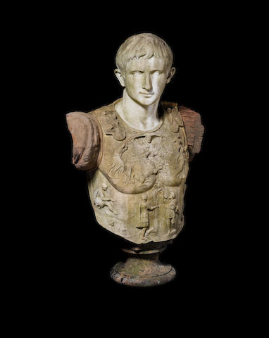 After the Antique: A 19th century Italian carved Carrara marble bust of Caesar Augustus