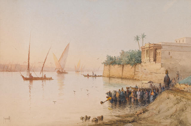 Spyridon Scarvelli (Greek, 1868-1942) View on the Nile unframed