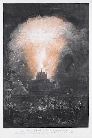 Francesco Piranesi (Italian, born circa 1758-1810) Fuoco artificiale detto la Girandola Etching in colours, c1790, after Louis-Jean Desprez, with the title and 'Desprez disegno' and Fran. Piranesi inc.' lower centre, on thick laid, with a shield and lily watermark, with small margins, 765 x 515mm (30 1/5 x 20 1/4in)(PL)