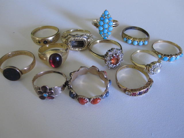 A collection of gem-set rings