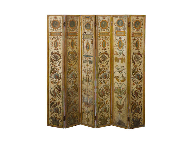 An Italian late 19th century polychrome decorated six fold painted screen
