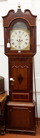 An oak and mahogany longcase clock: Wynstanley, Holywell