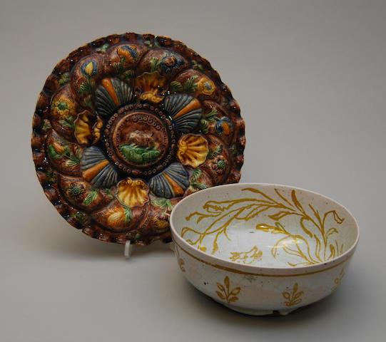 "A maiolica Faenza dish with a maiolica ""Bianchetto"" faenza bowl"