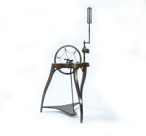 An unusual Regency mahogany and steel patent spinning-wheelSamuel Thorp, Abberley, Worcestershire