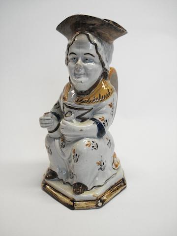 A prattware 'Martha Gunn' Toby jug, circa 1790