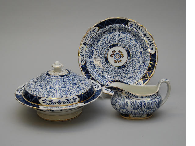 An early 20th century A.G.Harley Jones blue and white part dinner service
