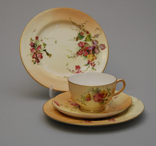 A small collection of Royal Worcester 'blush ivory' teawares